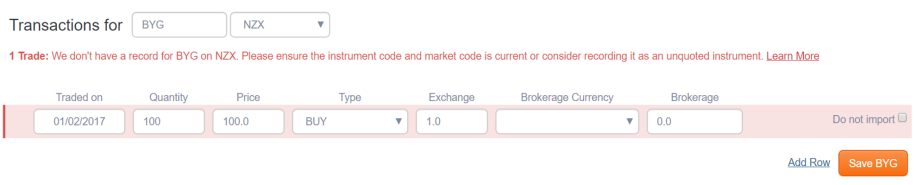 'We don't have a record for [holding code] on [market code]. Please ensure the instrument code is current or consider recording it as an unquoted instrument. Learn more' error message