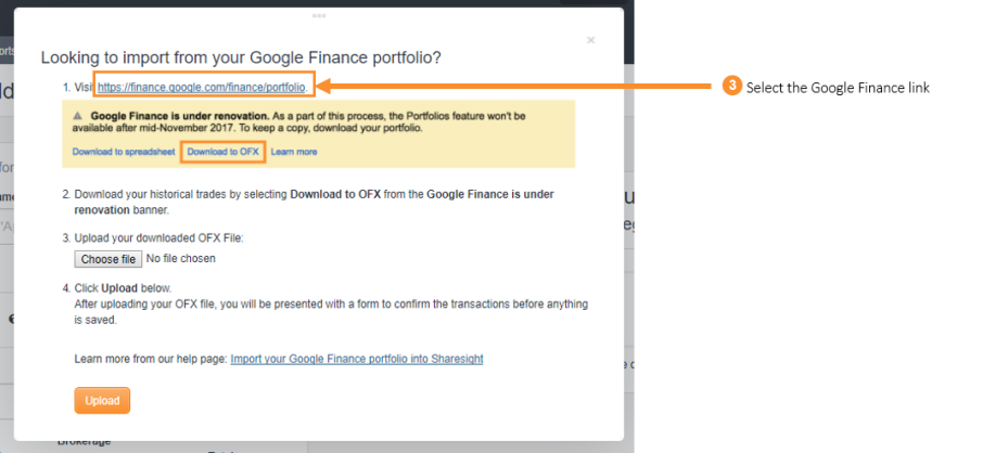3. Select the Google Finance link