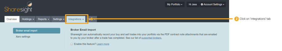 Importing trades via your broker's contract notes