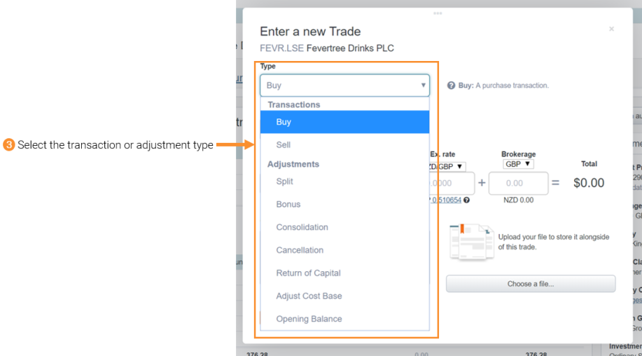 3 - Adding buy & sell trades or adjustments manually