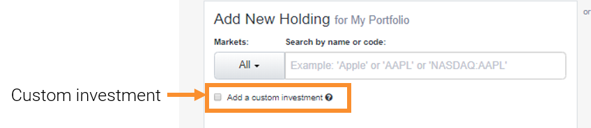 Manual importer - custom investment