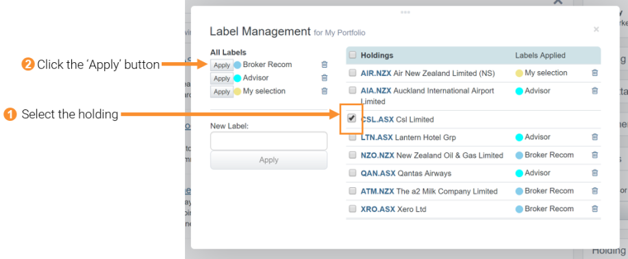 1 & 2 Applying an already created label to holdings