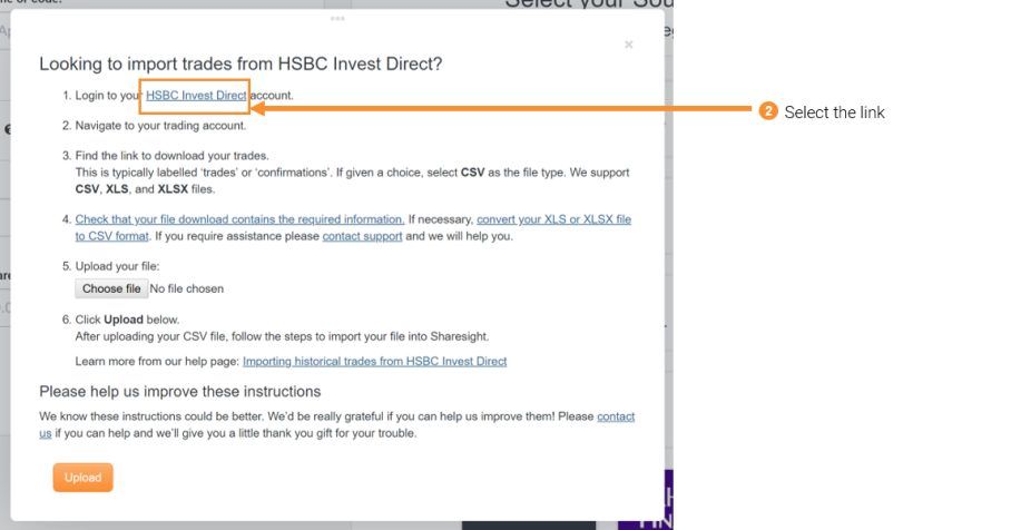Importing historical trades from HSBC Invest Direct | Sharesight Help