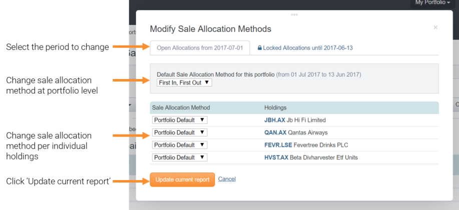 modify Sale Allocation Methods
