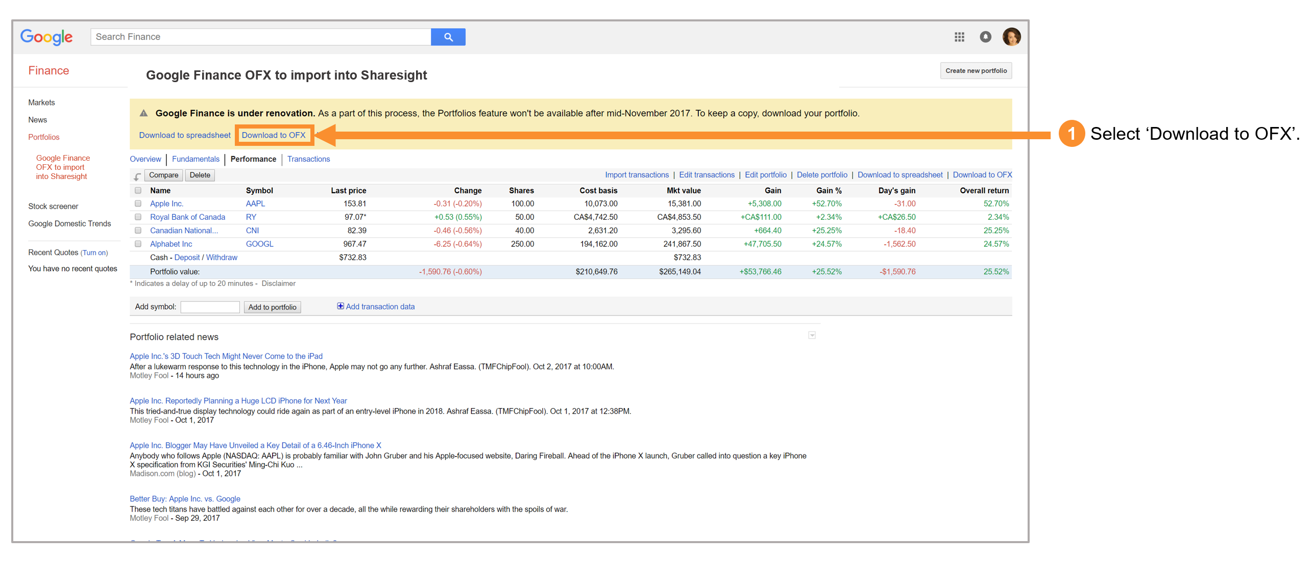 Select Download to OFX from Google Finance
