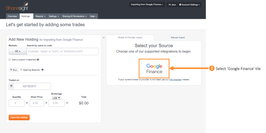 2. Select Google Finance tile