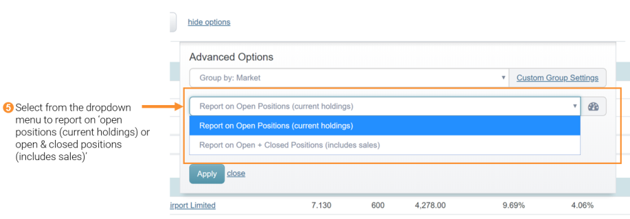 5 - open and closed positions in advance options