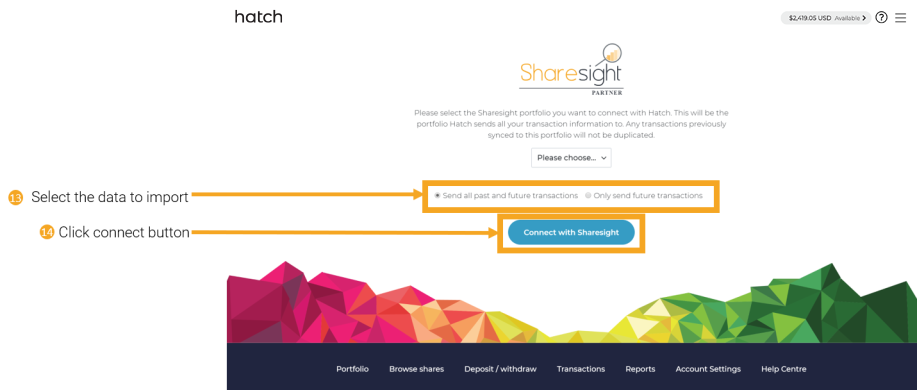 13 14 - connecting Hatch to Sharesight