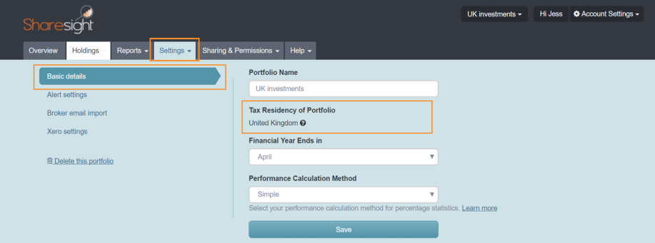 Tax Residency of Portfolio