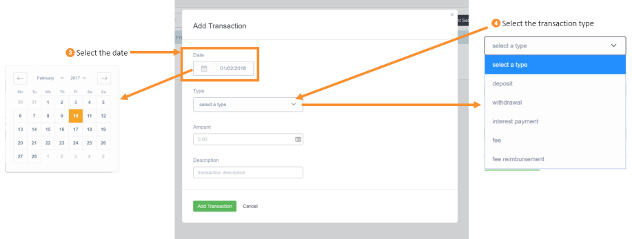 Adding a transaction to a cash account step 3 & 4