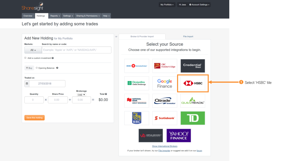 Importing historical trades from HSBC Invest Direct | Sharesight New