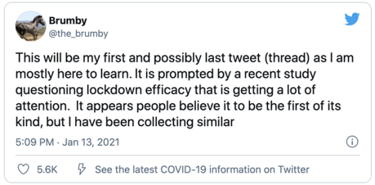 tweet from Brumby discussing the prevelance of lockdown efficacy being questioned