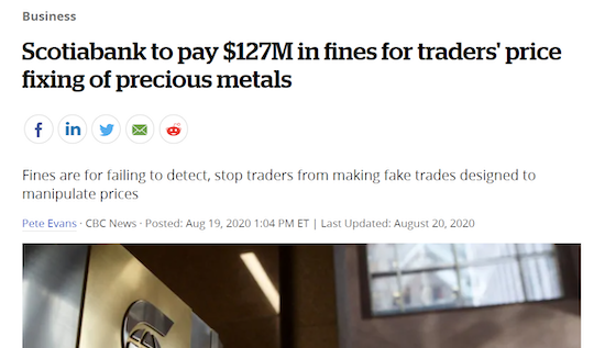 Scotiabank to pay $127M in fines for traders' price fixing of precious metals