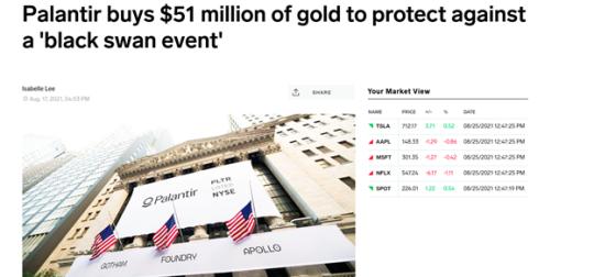 Palantir buys 51-million of gold