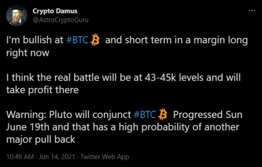 Crypto Damus, and Astrological Crypto Guru, tweets.