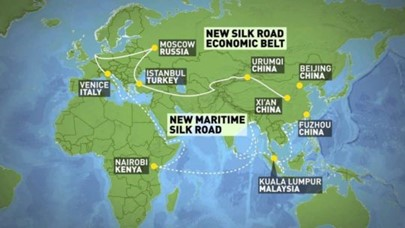 Map, depiting economic belt and silk road