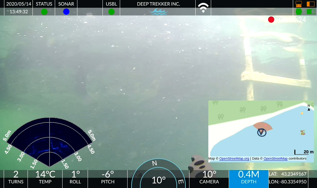 ROV point of view with PIP, Sonar, and sensor readings (depth, pitch, roll, heading)