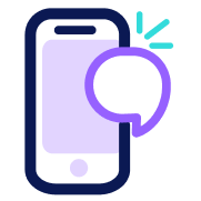 Mobile commenting icon illustration