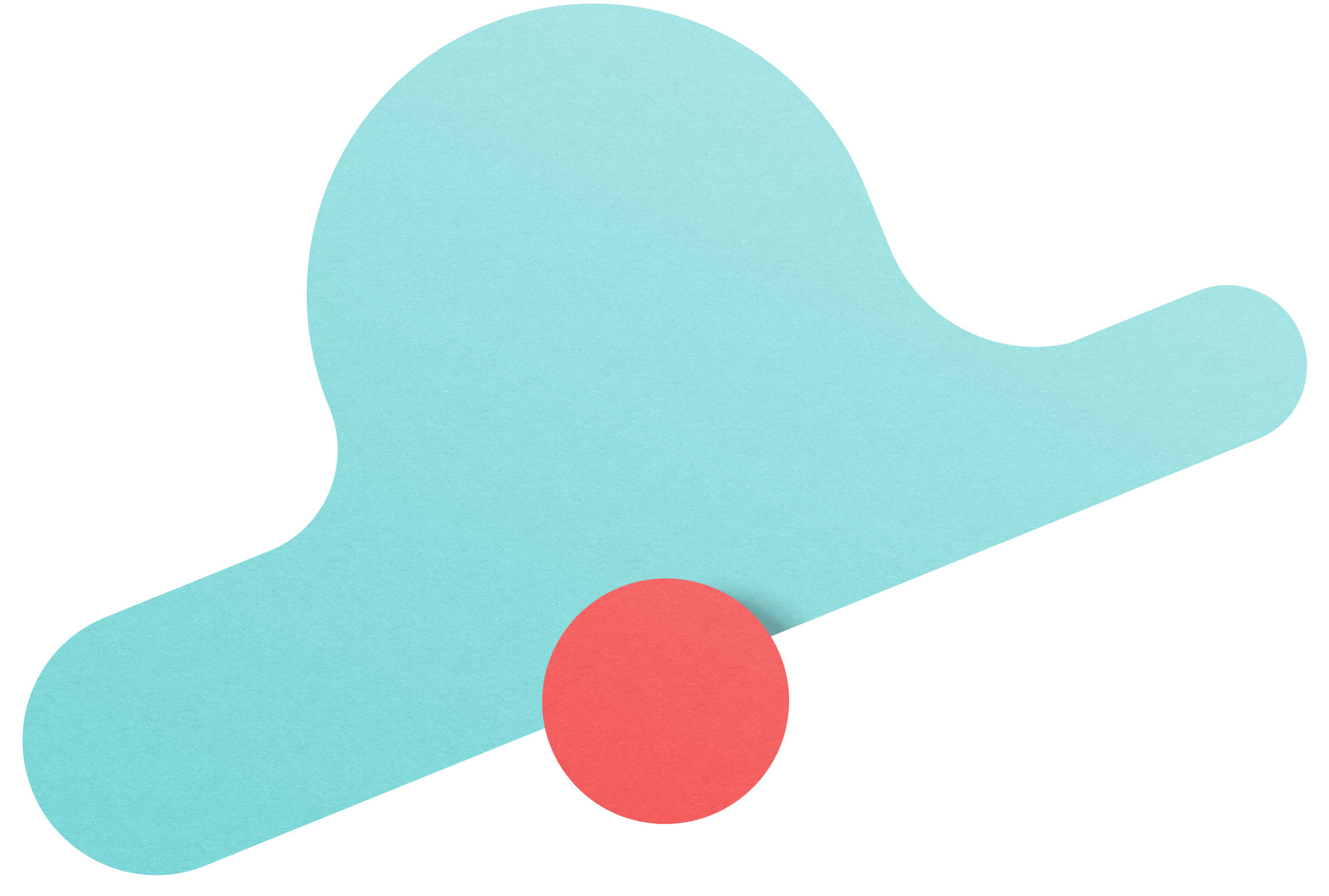 A floating turquoise cloud with a red dot