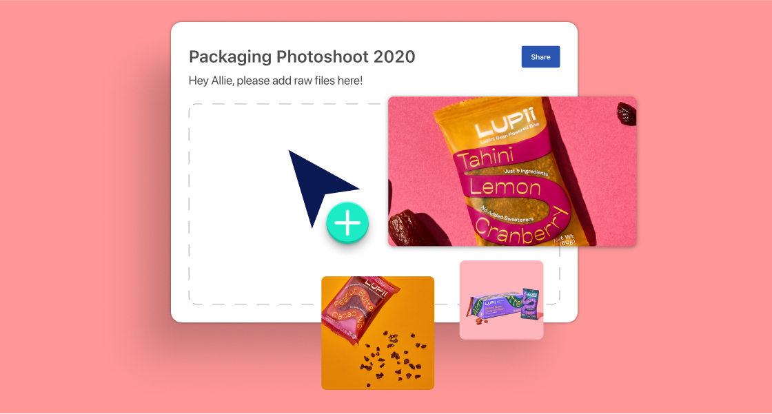 Floating assets of product packaging to illustrate how someone might upload content to a board on Air.