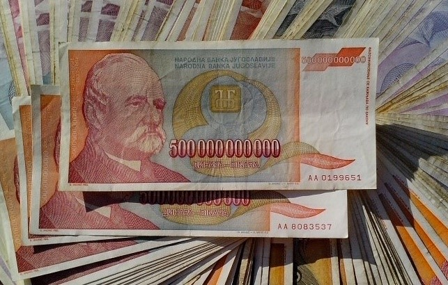 The largest banknote ever printed, a result of hyperinflation in Yugoslavia