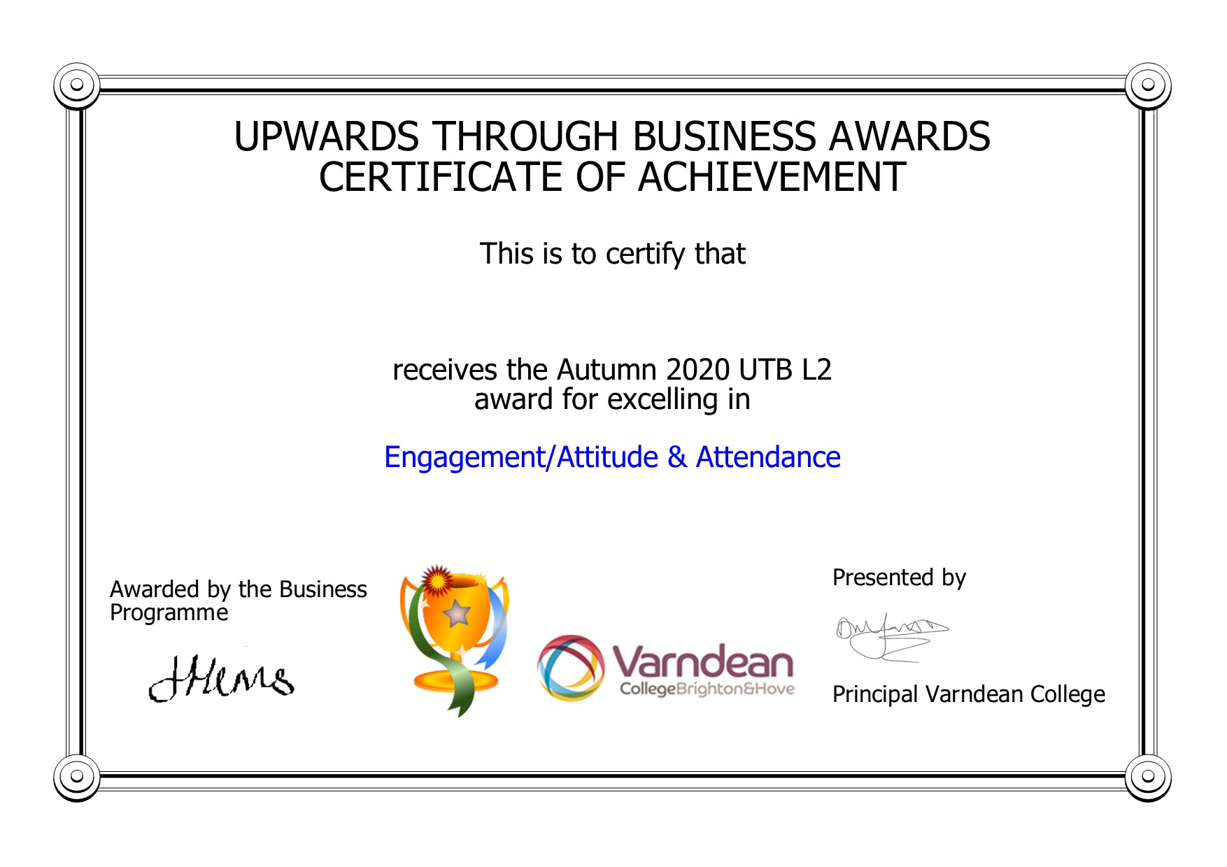 UTB Awards Certificate (1)