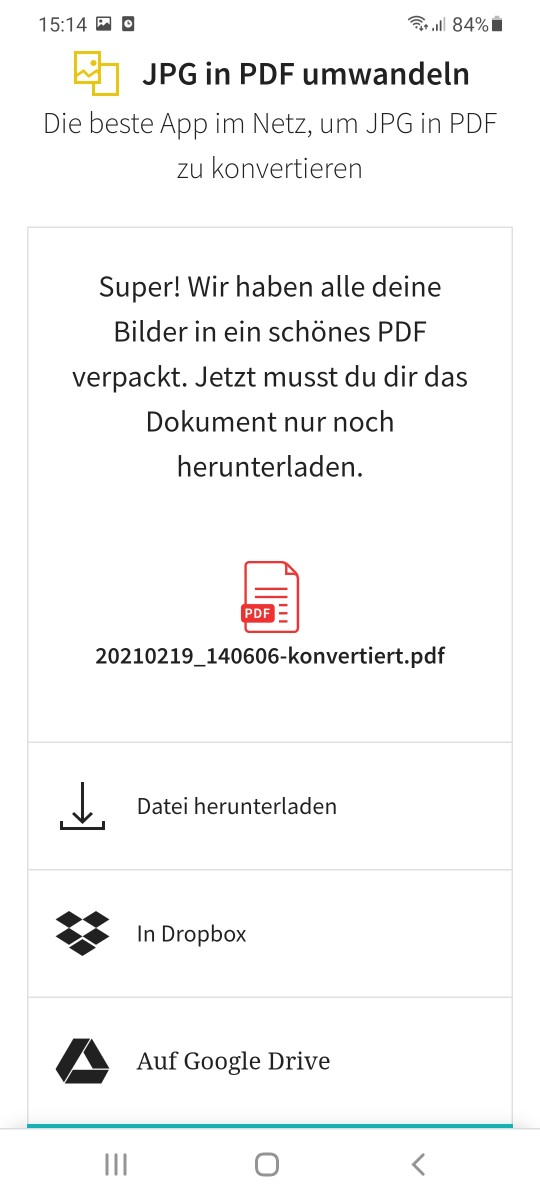 2019-08-30 - JPG in PDF konvertieren auf Android - Teilen
