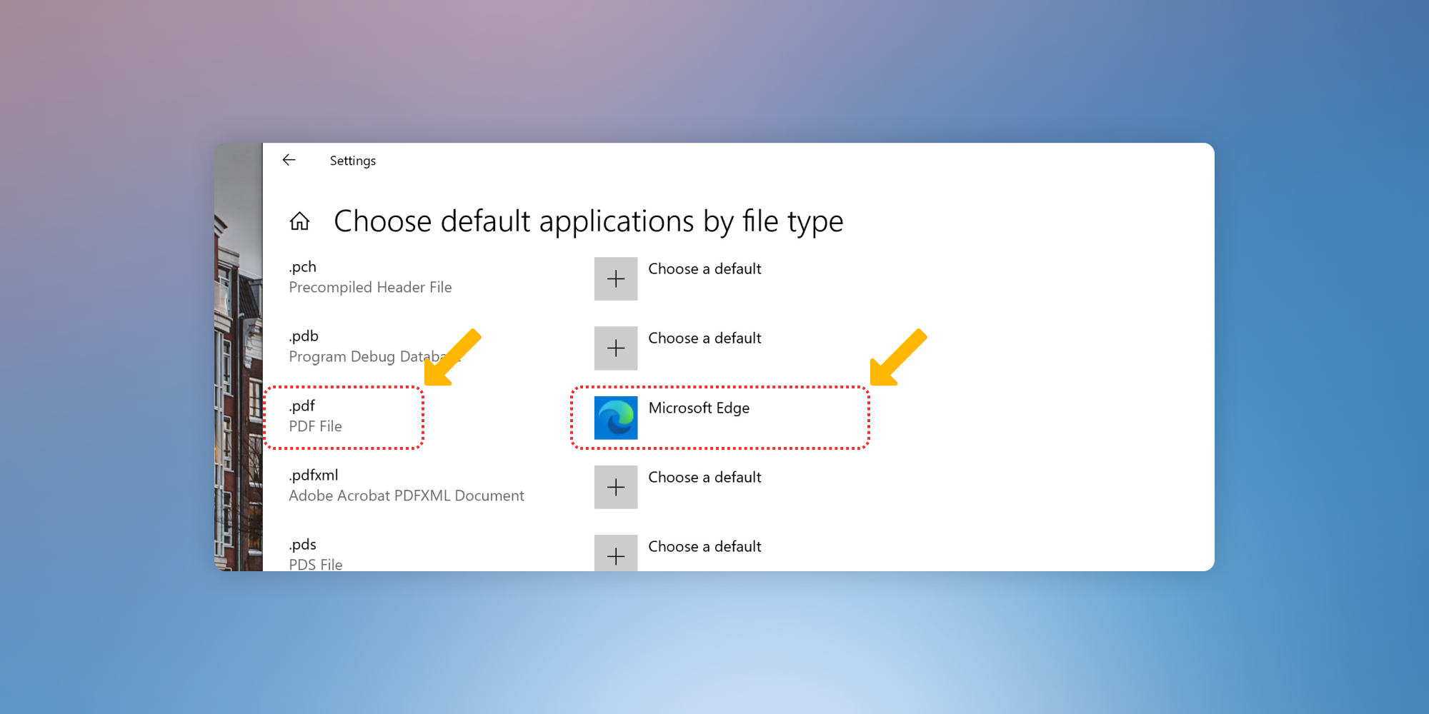 """Screenshot showing how to """"Choose a default"""" app for a certain file type."""