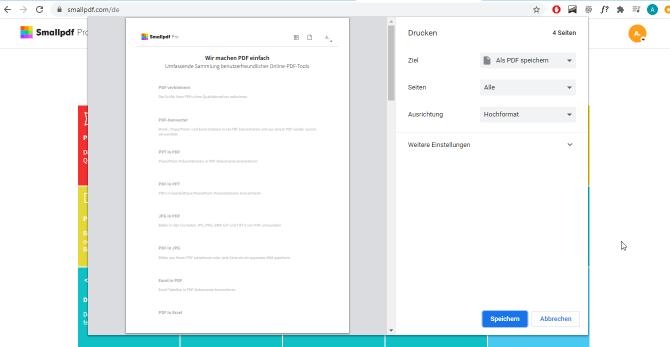 2020-07-15 Eine Webseite als PDF speichern über die Drucken Funktion in Chrome