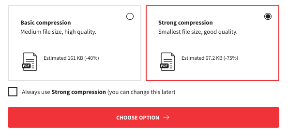 Compression options of Smallpdf