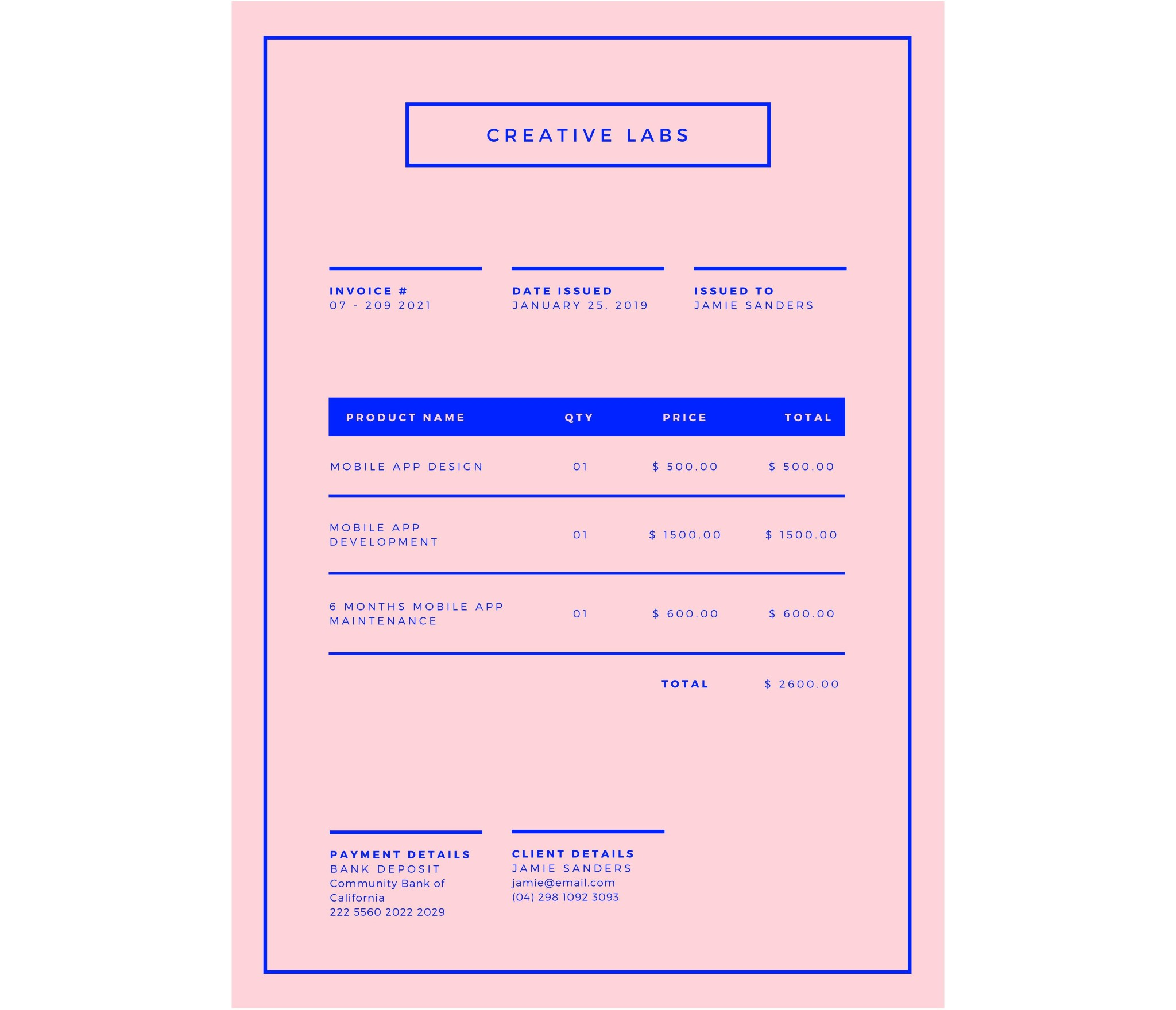 Pink and Bright Blue Minimalist Business Invoice