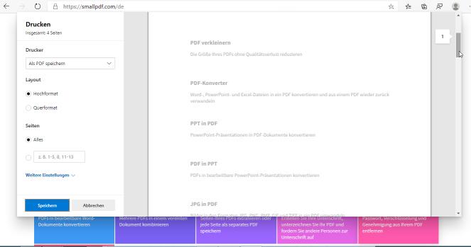 2020-07-15 Eine Webseite als PDF speichern über die Drucken Funktion in Microsoft Edge