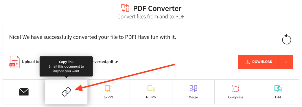 Share file after using the Online2PDF converter