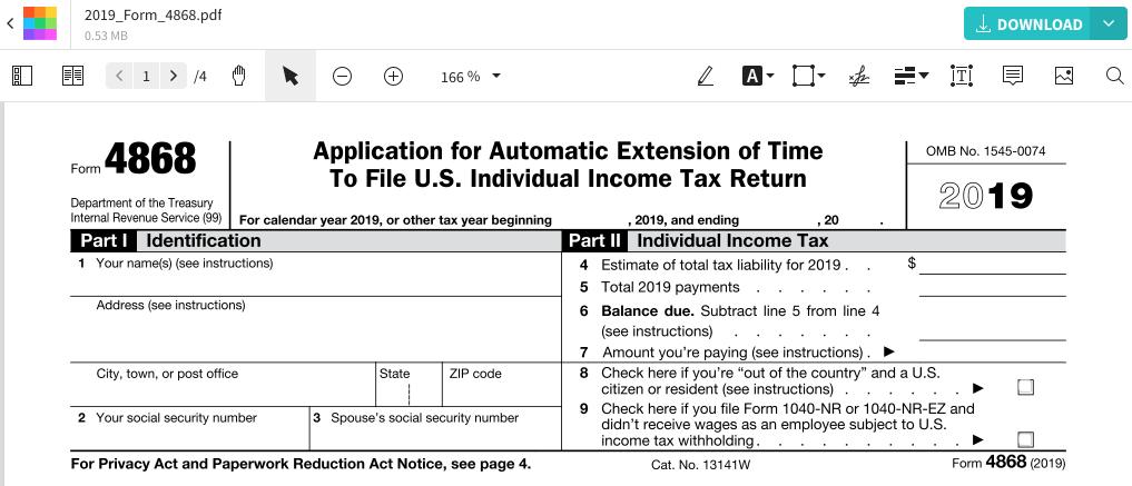 Fill Form 4868 Smallpdf