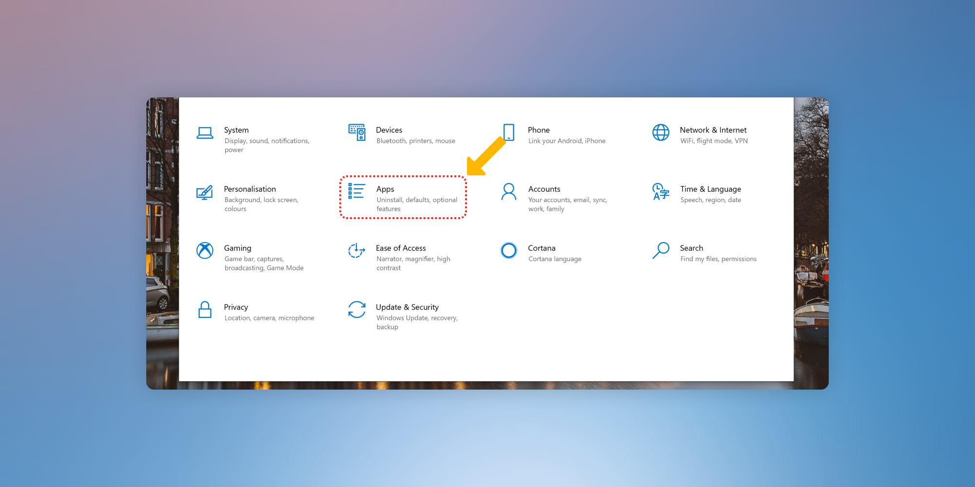 """Screenshot showing where to select """"Apps"""" from the """"Settings"""" menu in Windows."""