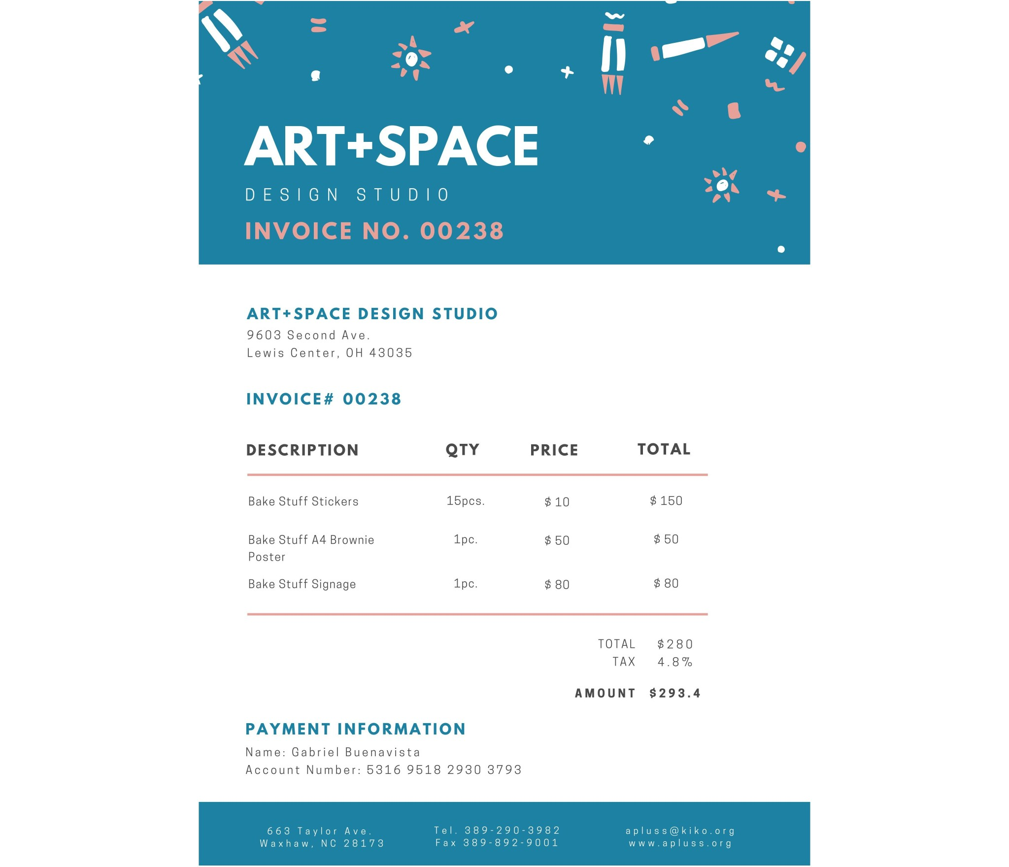 Teal Graphic Illustrations Business Invoice