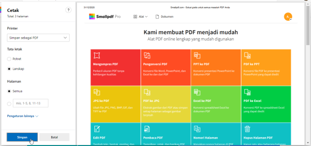 2020-07-15 - Cara Menyimpan Halaman Web Sebagai PDF - Menggunakan Microsoft Edge