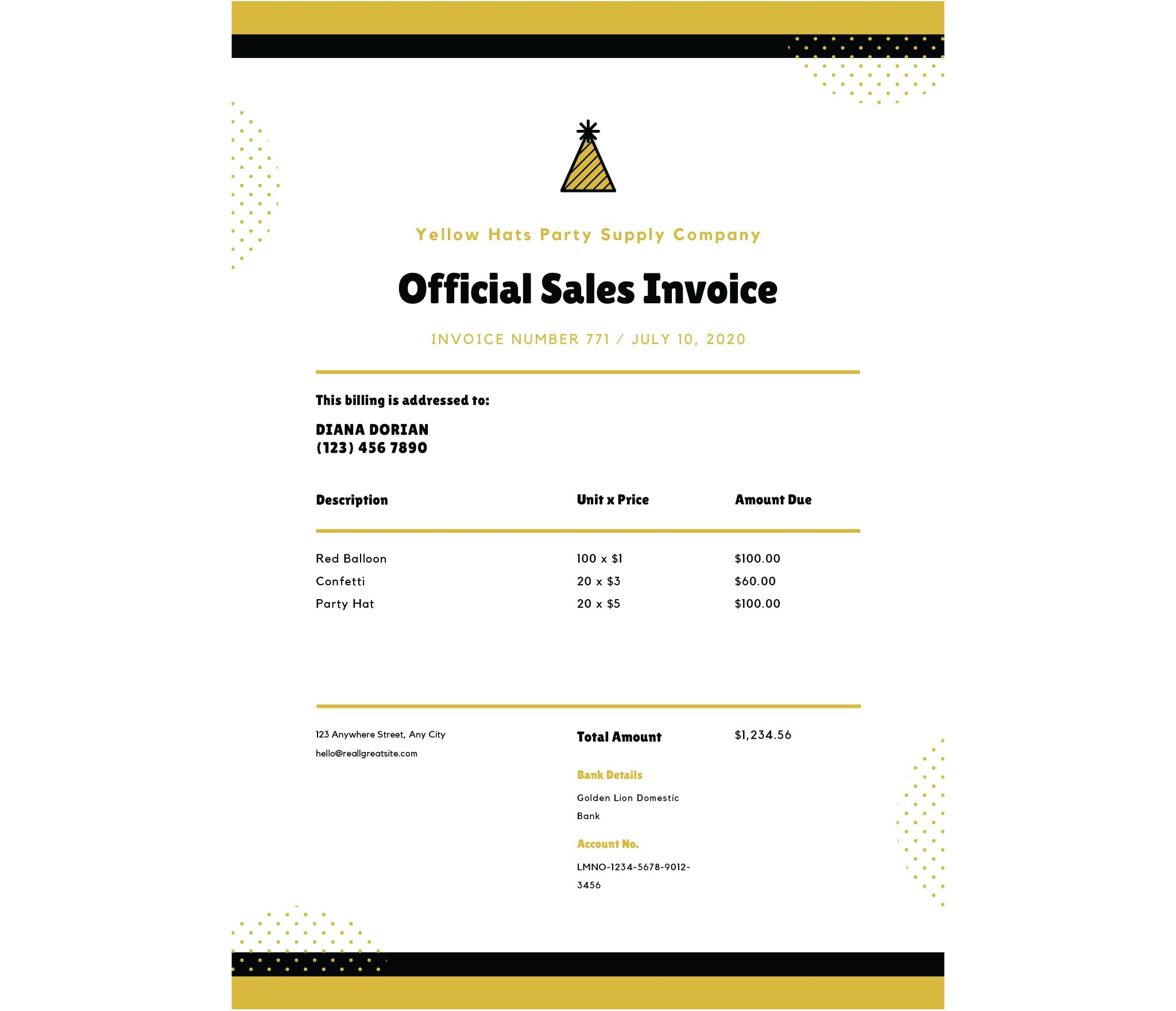 Yellow and Dark Blue Invoice Letterhead