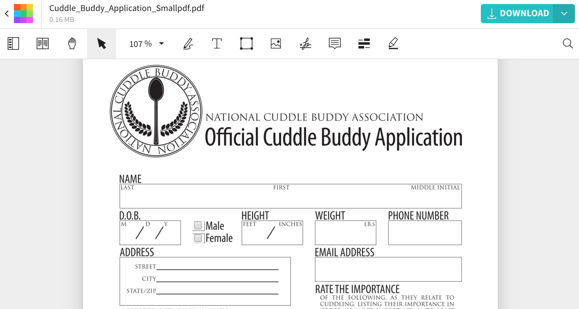 Online Cuddle Buddy Application Form   Smallpdf