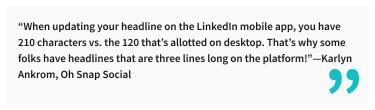 2020-07-03 - Die perfekte LinkedIn Überschrift - Zitat von Karlyn Ankrom, Oh Snap Social