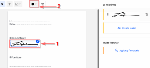 2019-08-13 - Come inserire una firma elettronica in un PDF online - cambiare il colore della firma