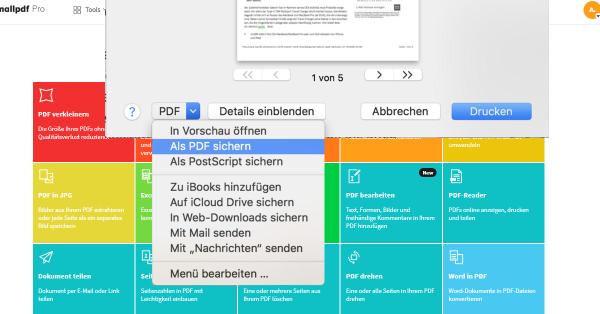 2020-07-15 Eine Webseite als PDF speichern über die Drucken Funktion in Safari