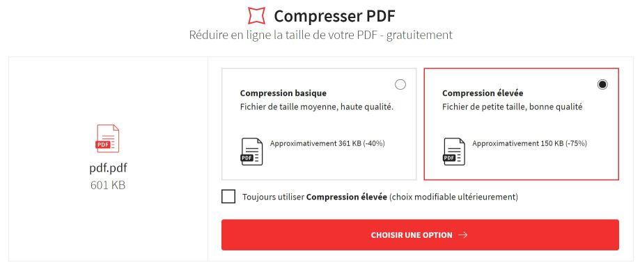 2021-07-08 - Compresse tes PDF en ligne et obtiens un fichier de la taille de ton choix - outil Compresser PDF, compression basique