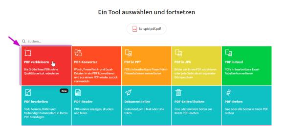 2018-11-27 - Smallpdf integriert sich mit Dropbox - Das gewünschte Tool auswählen