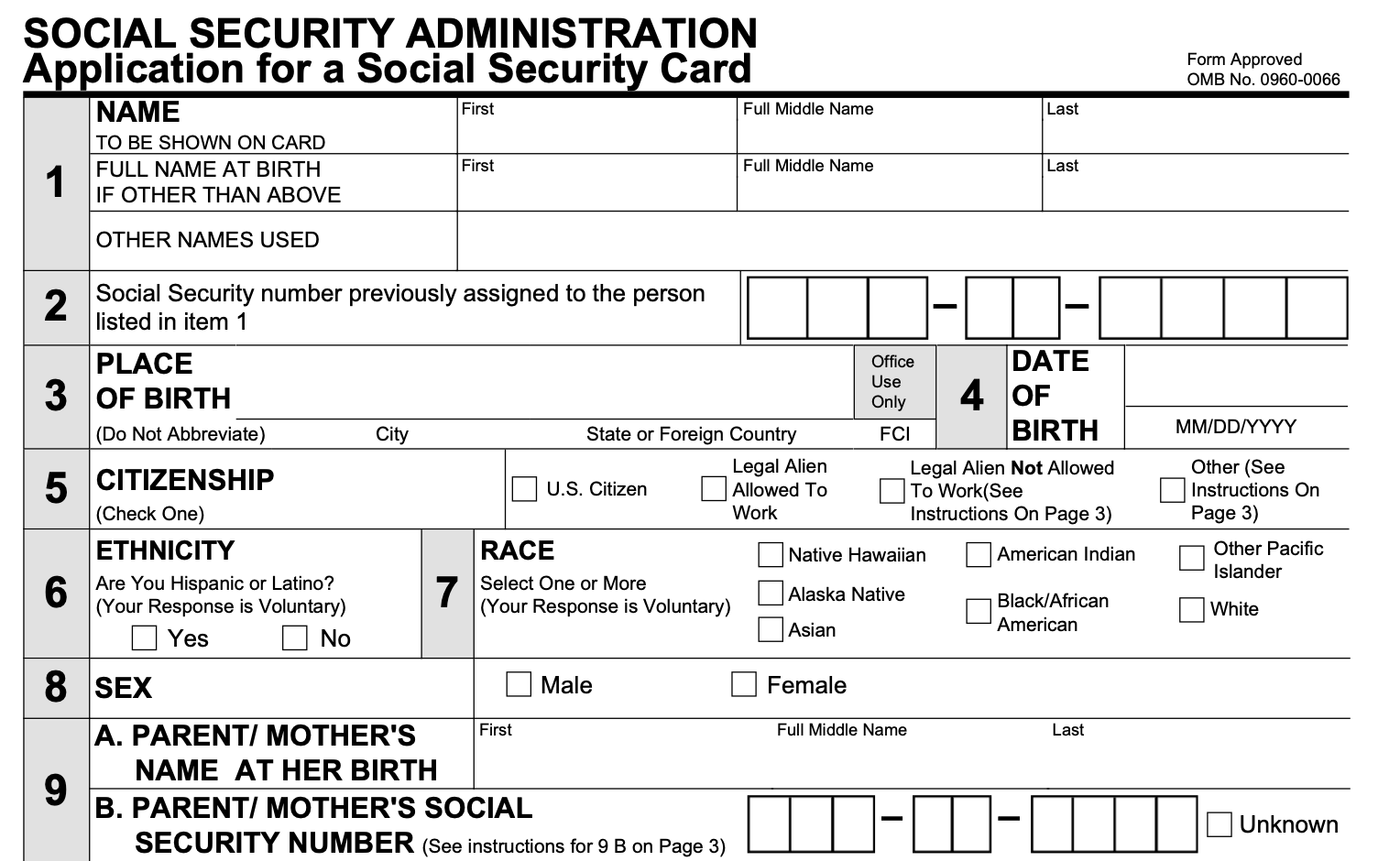 Form SS-21 - Social Security Card Replacement Form  Smallpdf For Editable Social Security Card Template