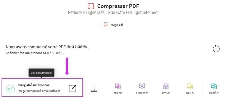 2018-11-27 - Smallpdf s'intègre à Dropbox - page de résultat de l'outil Compresser PDF, comment voir sur Dropbox