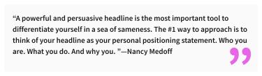 2020-07-03 - Die perfekte LinkedIn Überschrift - Zitat von Nancy Medoff