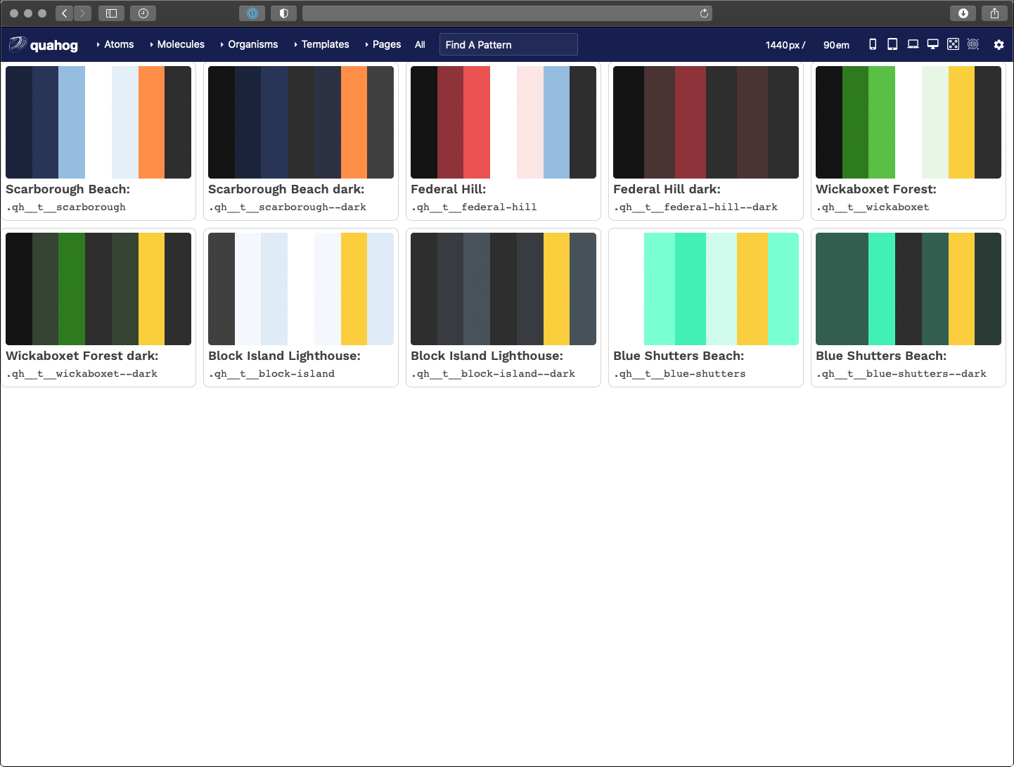 A grid of large color swatches consisting of striped of color produced by the Pattern Lab design system documentation tool