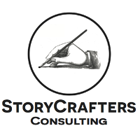 The logo of StoryCrafters MBA Consulting. It's a black & white graphic of a hand holding a pen.