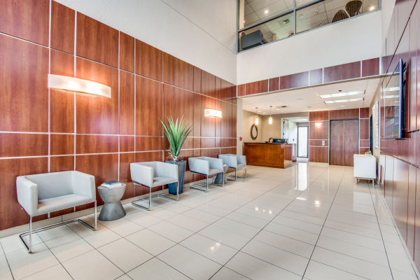 Lobby of commercial office building with private suites in Las Colinas, Texas